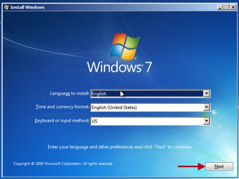 Lựa chọn ngôn ngữ cài đặt và bấm nút Next trong Windows 7