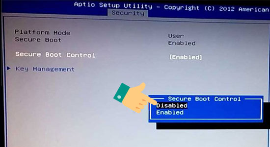 Chọn Disabled để tắt Secure Boot