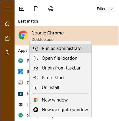 Click chuột phải vào phần mềm và chọn chạy bằng quyền quản trị